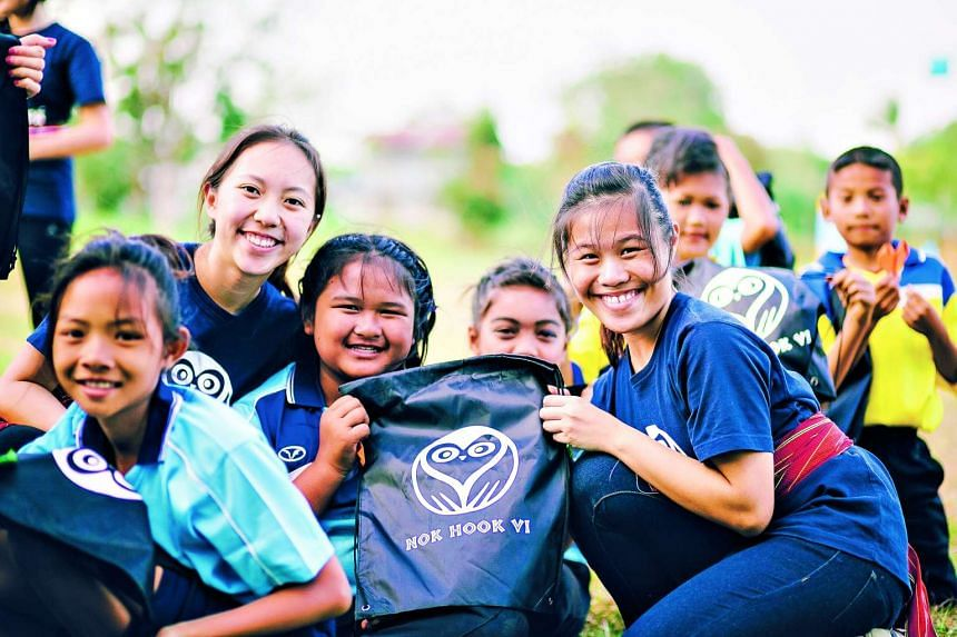 SMU students on an overseas community service project, Nok Hook, in Thailand.