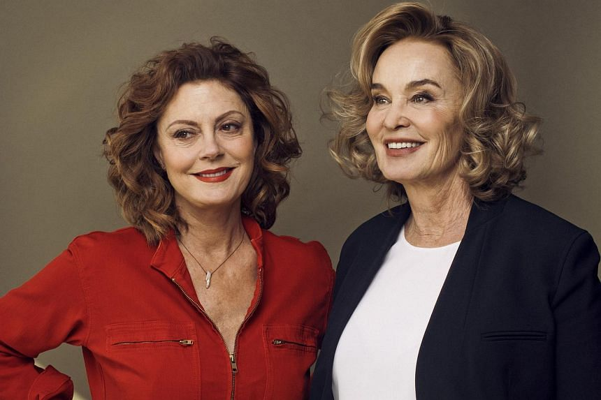 Feud co-stars Susan Sarandon (left) and Jessica Lange, at the Rainbow Room in New York, on Feb 17, 2017.