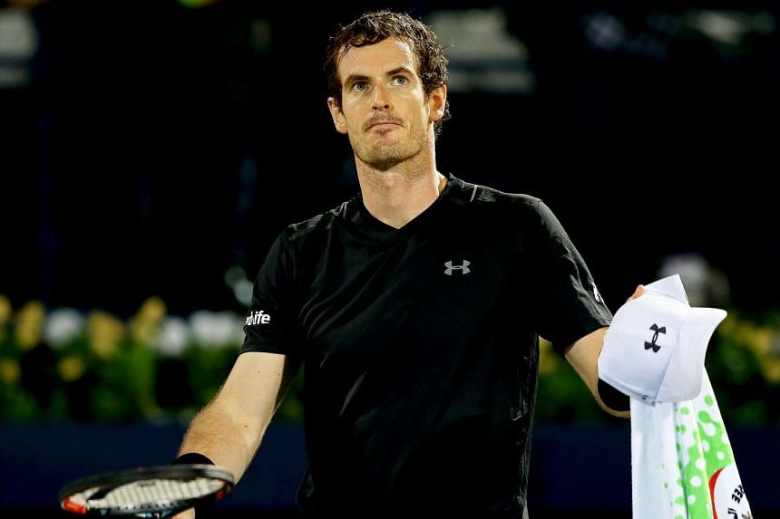 Andy Murray reacts after defeating Lucas Pouille of France in their semi final match at the Dubai Duty Free Tennis ATP Championships in Dubai on March 3, 2017.