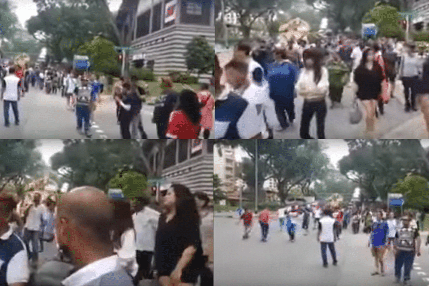 "Men are heard shouting gang slogan ""Sah Lak Kau"" or ""369"" in Hokkien in a video of a funeral procession at Jalan Bukit Merah."