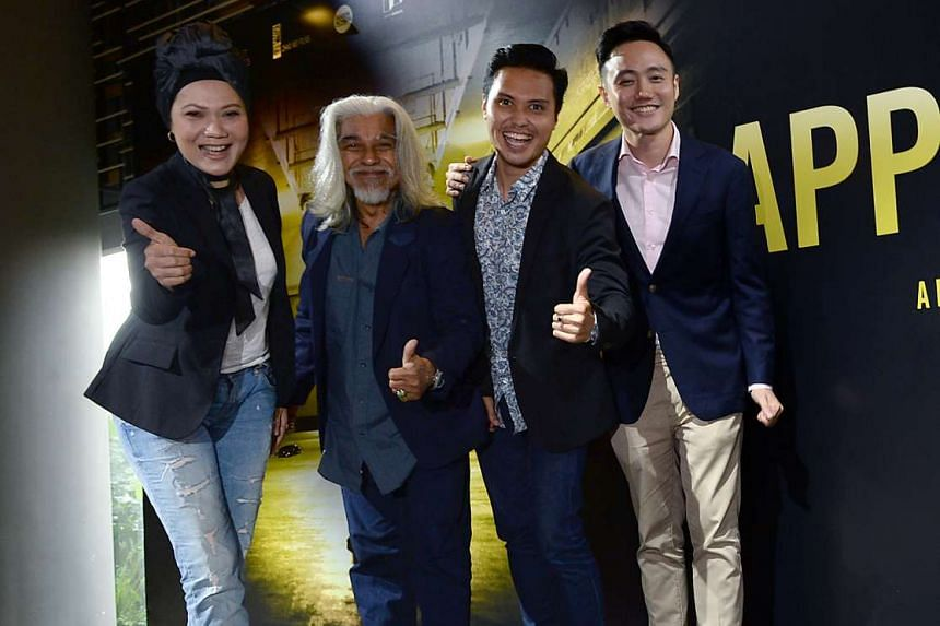 (From left) Singapore actress Mastura Ahmad, Malaysian actor Wan Hanafi Su, Singapore actor Fir Rahman and director Boo Junfeng at the Apprentice's media conference on June 13, 2016.