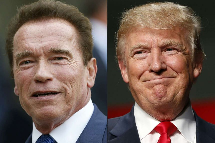 Schwarzenegger (left) blames Trump (right) for the show's low ratings.