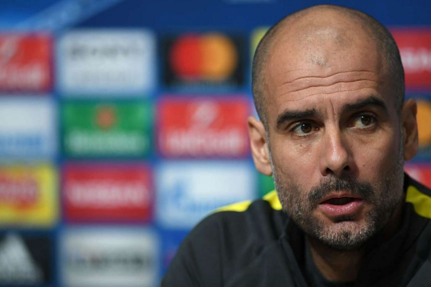 Guardiola addresses the media during a press conference on Feb 20, 2017.