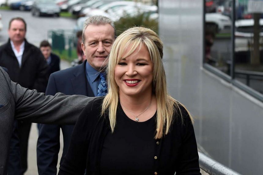 Sinn Fein leader Michelle O'Neill arrives at the count centre, March 3, 2017.