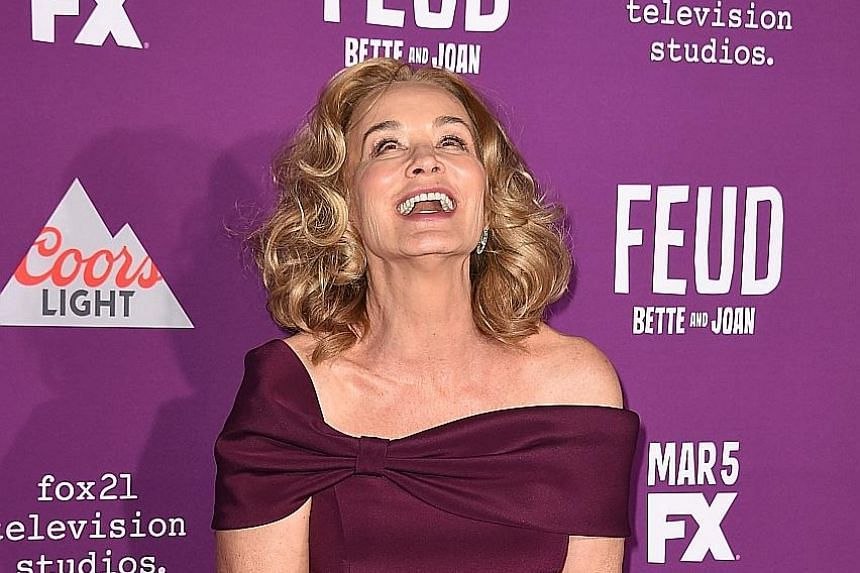 Jessica Lange at Wednesday's premiere of FX's television series Feud: Bette And Joan in Hollywood. In Feud, which premieres tomorrow, Lange, 67, and Susan Sarandon, 70, play Joan Crawford and Bette Davis respectively. The story is a stylised retellin