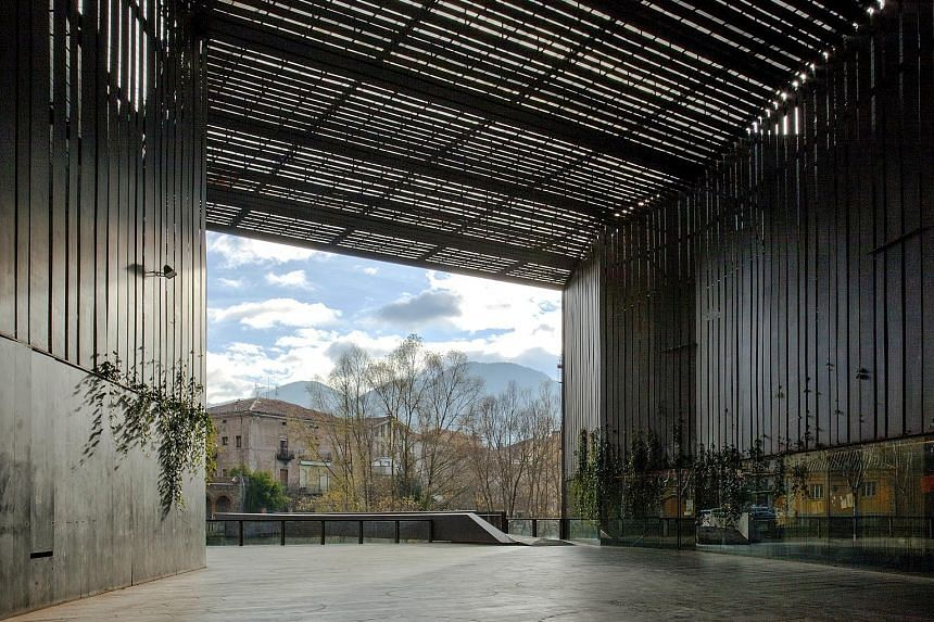 """An unnamed building by RCR Arquitectes in L'Hospitalet de Llobregat, Spain. The Pritzker jury praised the winners for creating works that """"admirably and poetically fulfil the traditional requirements of architecture for physical and spatial beauty al"""