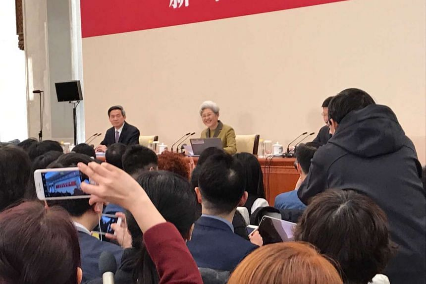 National People's Congress spokesman Fu Ying speaking at a news conference in Beijing on Saturday (March 4).