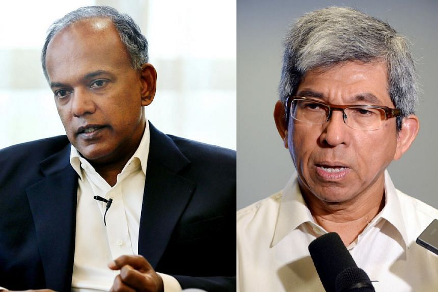 Home Affairs and Law Minister K. Shanmugam (left) and Minister-in-charge of Muslim Affairs Yaacob Ibrahim.