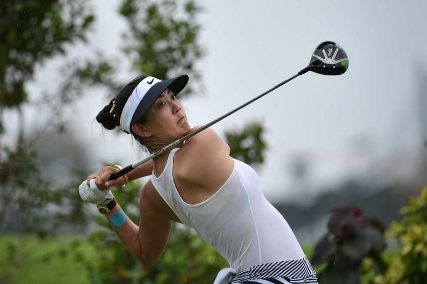 Michelle Wie tees off at the sixth hole during the Third round of the HSBC Women's Champions held at Sentosa Golf Club's new Tanjong Course on March 4, 2017.