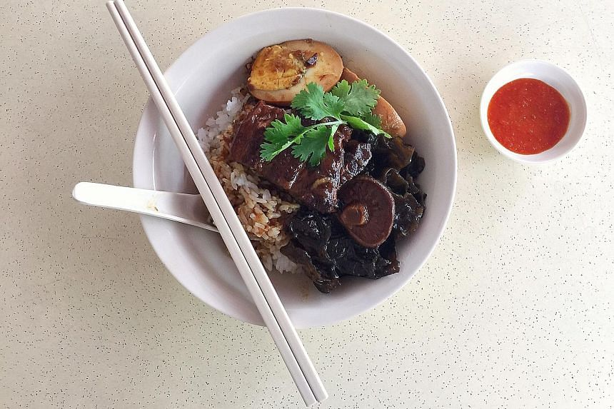 Lor bak with rice, black fungus and a stewed egg.