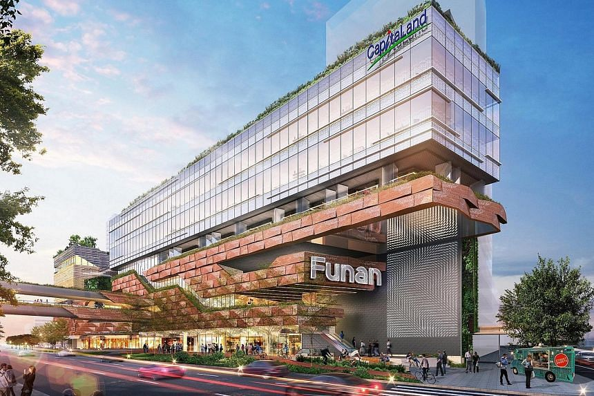 The Asia ex-Japan Reit ETF is benchmarked to a Reit index comprising 23 Reits, including Ascendas Reit and CapitaLand Mall Trust, whose properties include Ascendas OneHub GKC in Guangzhou (far left) and the upcoming Funan integrated development (left