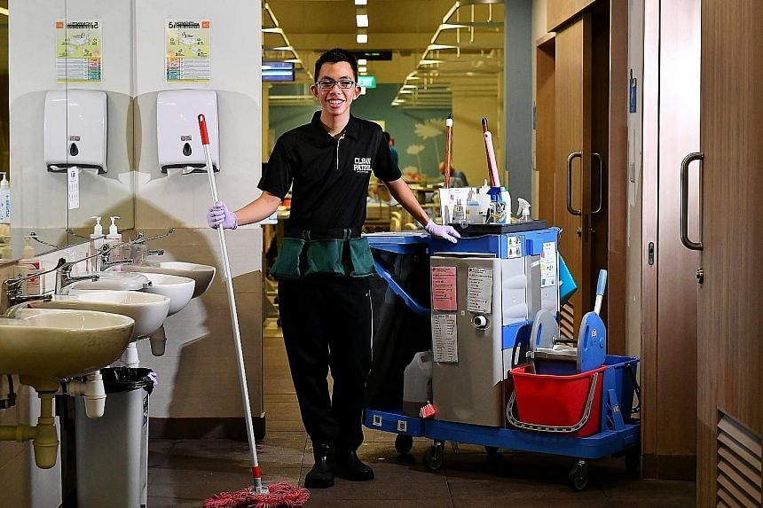 As a facility assistant, Mr Goh cleans toilets in the wards of Pearl's Hill Care Home.
