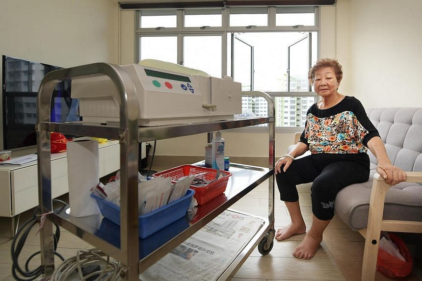Mdm Chan Bee Ling, 75, uses this machine for peritoneal dialysis which is done at home overnight, while she is asleep in her Tampines Central 7 flat.
