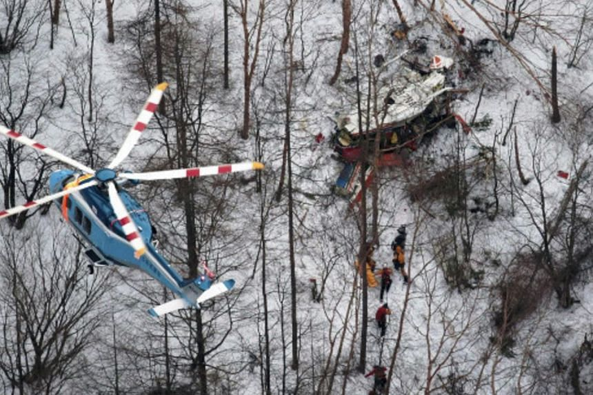 A helicopter carrying nine people crashed on a mountainside in Nagano prefecture while conducting a mountain rescue exercise, on March 5, 2017.
