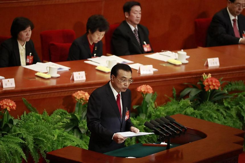 Chinese Premier Li Keqiang delivering his speech during the opening of the fifth Session of the 12th National People's Congress (NPC) at the Great Hall of the People in Beijing, China, on March 5, 2017.