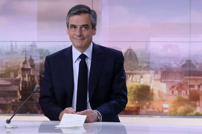 Francois Fillon waits before a broadcast interview on March 5, 2017.