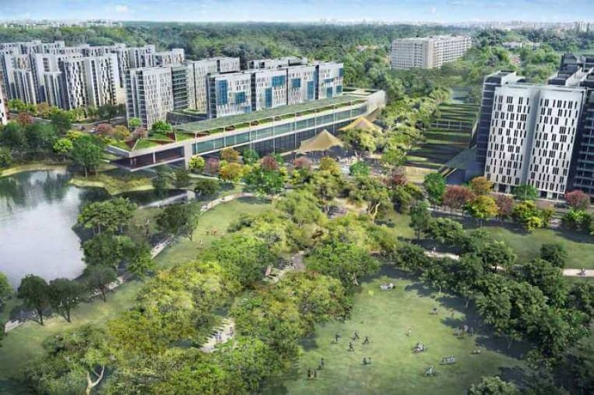 An artist's impression of the new Bidadari housing estate.