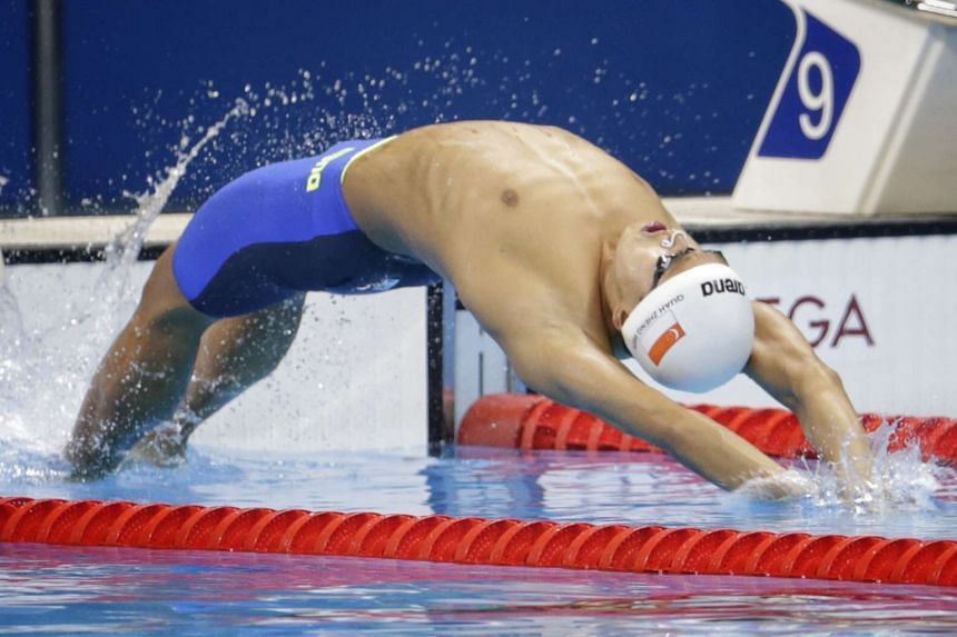 Quah Zheng Wen in action during the Rio 2016 Olympic Games men's 100m backstroke heats at the Olympic Aquatics Stadium in Rio de Janeiro, Brazil, on Aug 7, 2016.