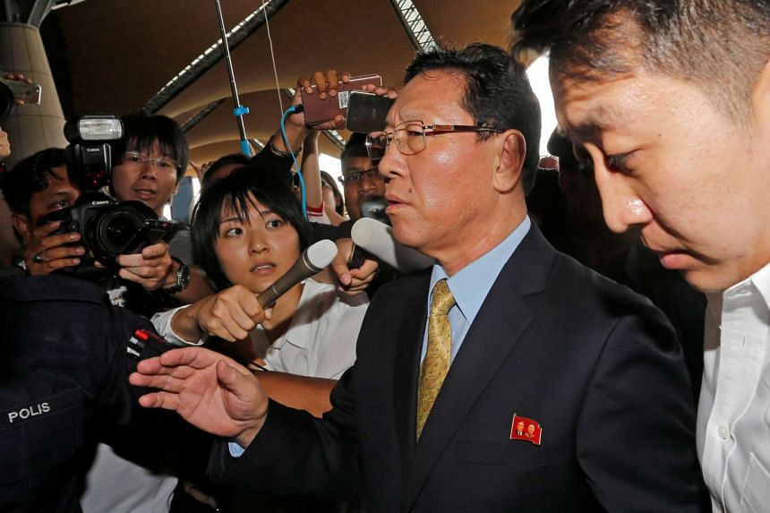 North Korean Ambassador to Malaysia Kang Chol, who was expelled from Malaysia, speaks to journalists at Kuala Lumpur international airport in Sepang, Malaysia on March 6, 2017.