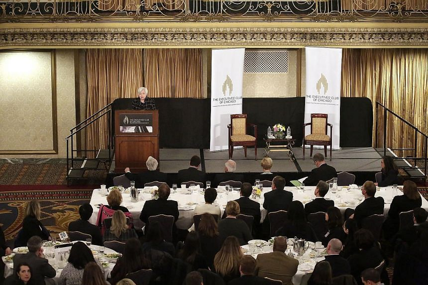 "Fed chair Janet Yellen speaking at an Executives Club of Chicago luncheon last Friday. She has added to the certainty of an interest rate hike this month by saying that it will be ""appropriate"" to do so in the upcoming Fed meeting on March 14 and 15."