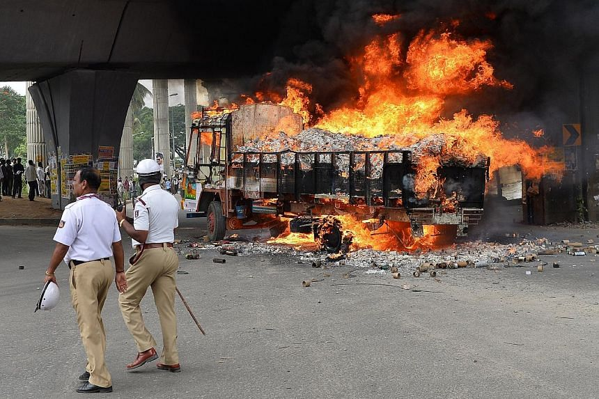 A lorry from Tamil Nadu was set alight in September last year by agitated activists in Karnataka state capital Bengaluru amid a dispute where Karnataka was ordered to release water to Tamil Nadu. Discord over water supplies is growing more strident i