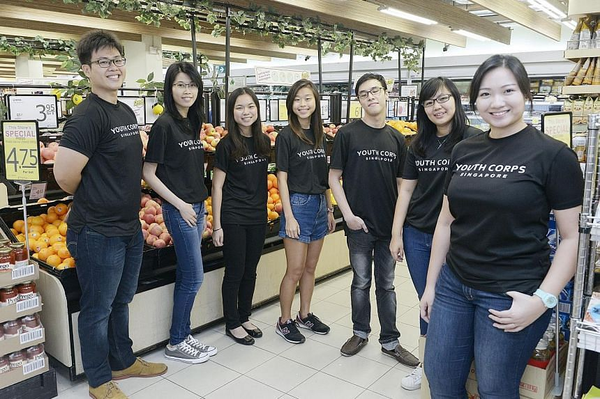 (From left) Youth Corps Singapore volunteers Randall Neo Jinteck, 22, Jesslyn Phua, 25, Cherie Poon, 19, Nicole Wong, 22, Tian Wei Shian, 23, and Kum Ke Xin, 22, and assistant manager Tang Hui Yee, 28, who are part of the team behind the Quiet Hour p
