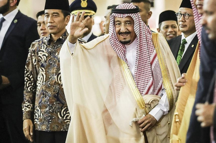 King Salman visiting Istiqlal Mosque in Jakarta with Indonesian President Joko Widodo (far left). The King's seven-nation tour of Asia is said to be aimed at diversifying the Saudi economy and promoting its influence in this region.