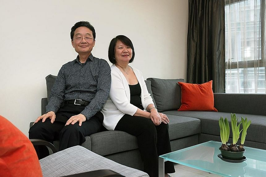 Mr Yeh with his wife Sau Lan in their new home in Tanjong Pagar. For the past 15 years, he had shuttled between the US and Singapore, staying mostly in a room in the Amara Hotel while he was here.