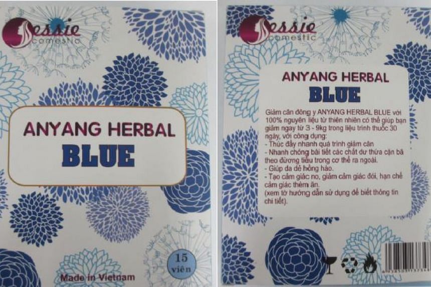 Anyang Herbal Blue which contains high levels of an illegal weight-loss drug.