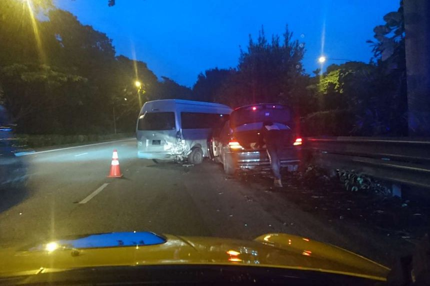 A BMW crashed into a van on the Ayer Rajah Expressway on March 4, 2017.