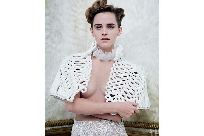 The photo shoot was carried out by acclaimed fashion photographer Tim Walker and displayed Watson in an open white crocheted bolero jacket with no bra or shirt underneath.
