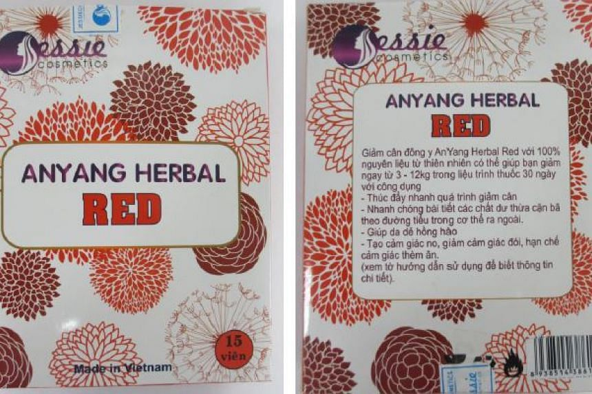 Anyang Herbal Red which contains high levels of an illegal weight-loss drug as well as potent western medicines.