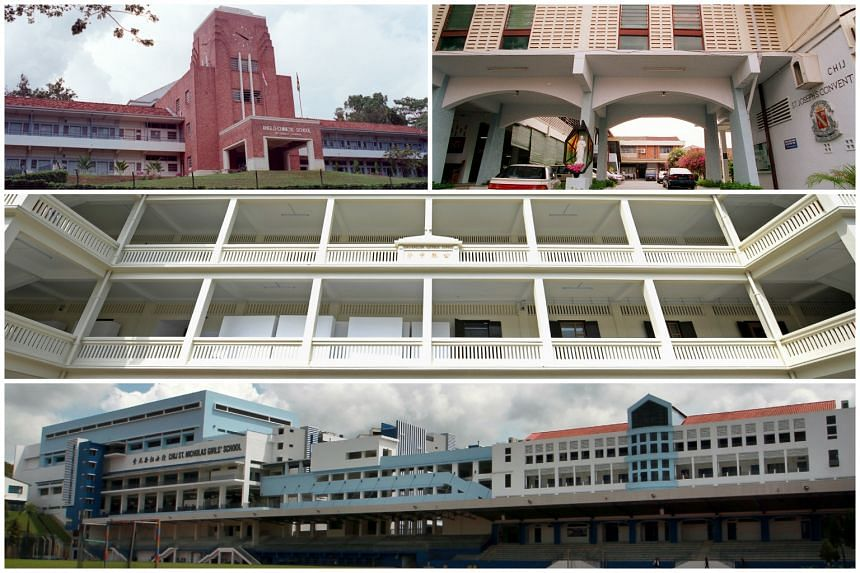 Anglo-Chinese School (Barker Road) (top left), CHIJ ST Joseph's Convent (top right), Catholic High School (Middle) and CHIJ St Nicholas Girl's School are some of 27 secondary schools with affiliated primary schools that will be affected by MOE's anno