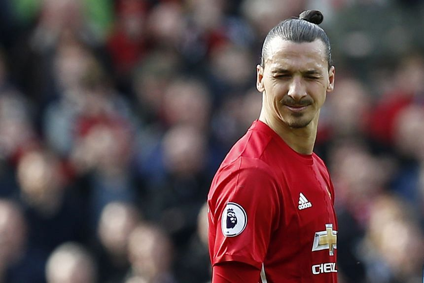 Manchester United's Zlatan Ibrahimovic reacts at Old Trafford on March 4, 2017.