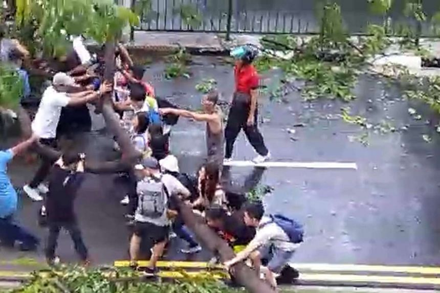 A group of about 20 people worked together to move the fallen tree that was obstructing traffic along Kaki Bukit Avenue 1 on March 6, 2017.