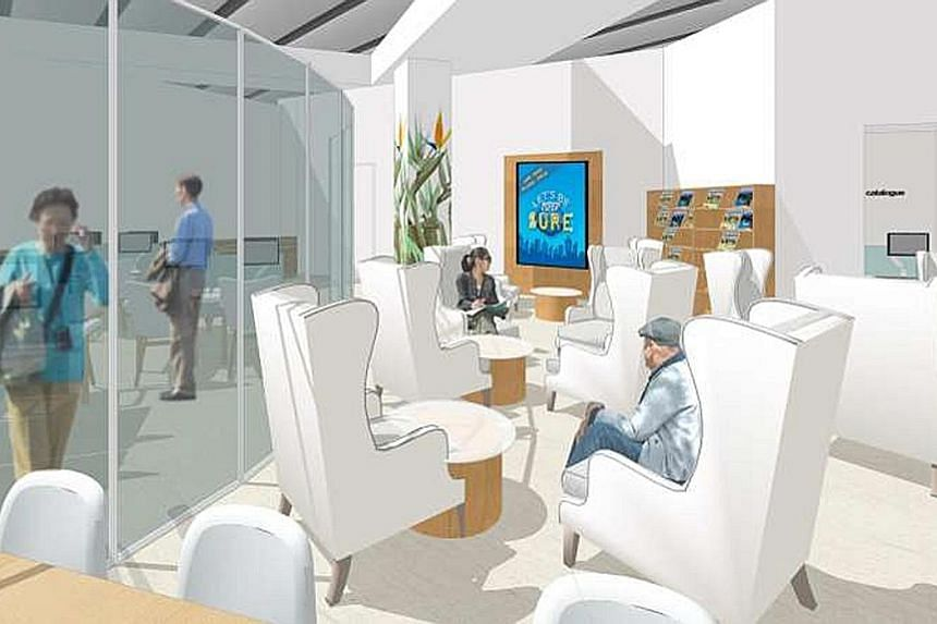 An artist's impression of the seniors' space at Bedok Public Library, which will reopen later this year. The area will specialise in collections and services geared towards older adults, such as large-print books that are easier to read.