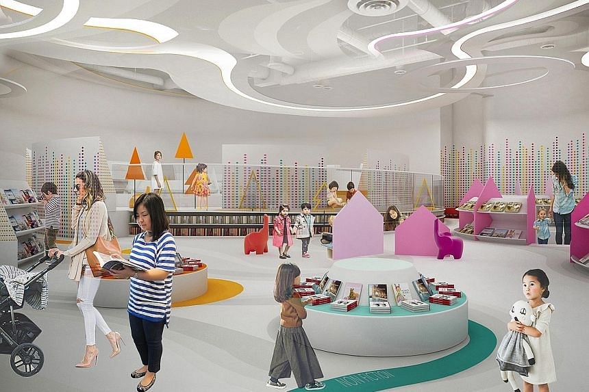 The children's area at Bukit Panjang Public Library, which is due to reopen in the third quarter of this year at Bukit Panjang Plaza, will include a storytelling room that brings together sound effects, lights and interactive visual projections to create