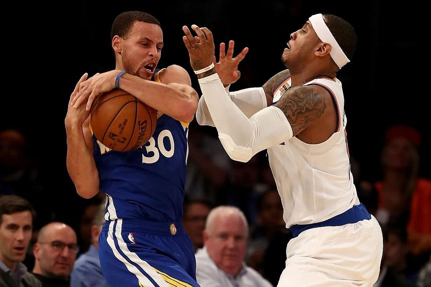 Golden State's Stephen Curry relieving New York's Carmelo Anthony of the ball during the Warriors' win over the Knicks. It was Golden State's first win on their five-game road trip, and also their first since Kevin Durant's injury.