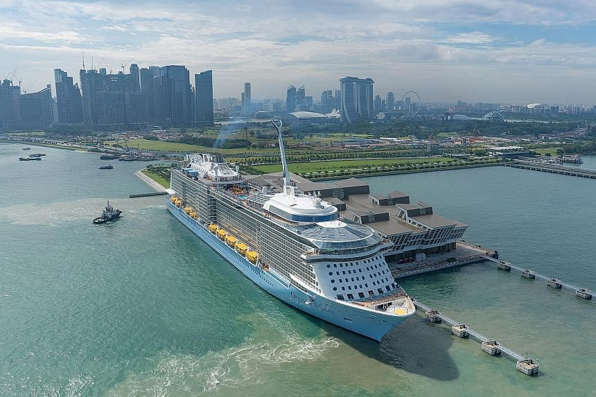 The marketing partnership will promote cruising out of Singapore on Royal Caribbean's ships Ovation of the Seas (above, at Marina Bay Cruise Centre) and Voyager of the Seas. The ships can accommodate 4,905 guests and 4,269 guests respectively, and ar