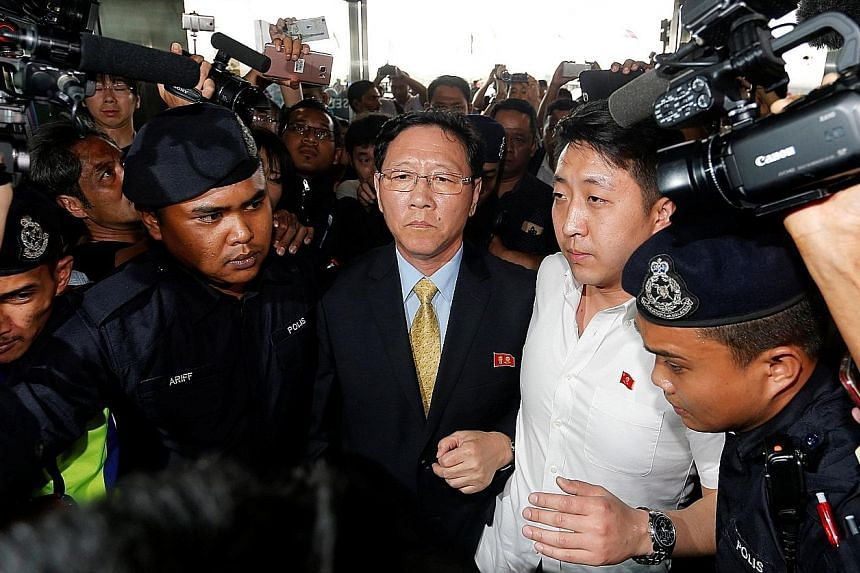 North Korean Ambassador Kang Chol at Kuala Lumpur International Airport yesterday. His expulsion was the result of an ongoing spat over the murder of Mr Kim Jong Nam, the estranged half-brother of North Korea's leader.
