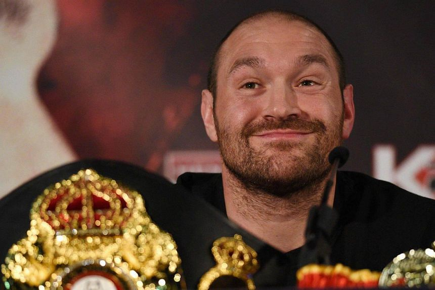 British heavyweight boxer Tyson Fury reacting during a press conference on April 27, 2016.