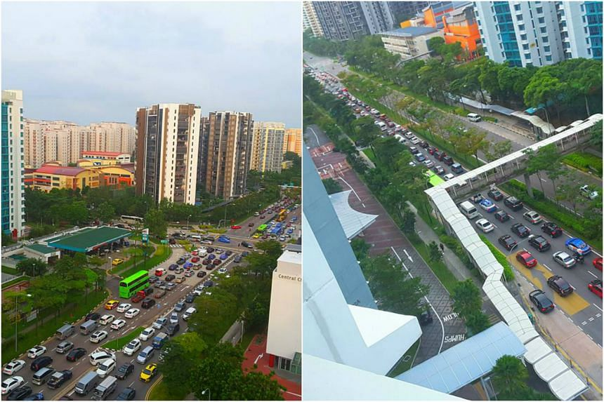 The traffic situation in Punggol Central at around 8.15am on Tuesday (March 7) morning.