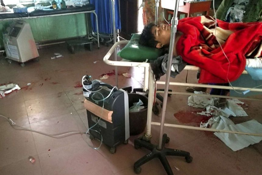 A wounded victim of the deadly attack at a hospital in Laukkai.