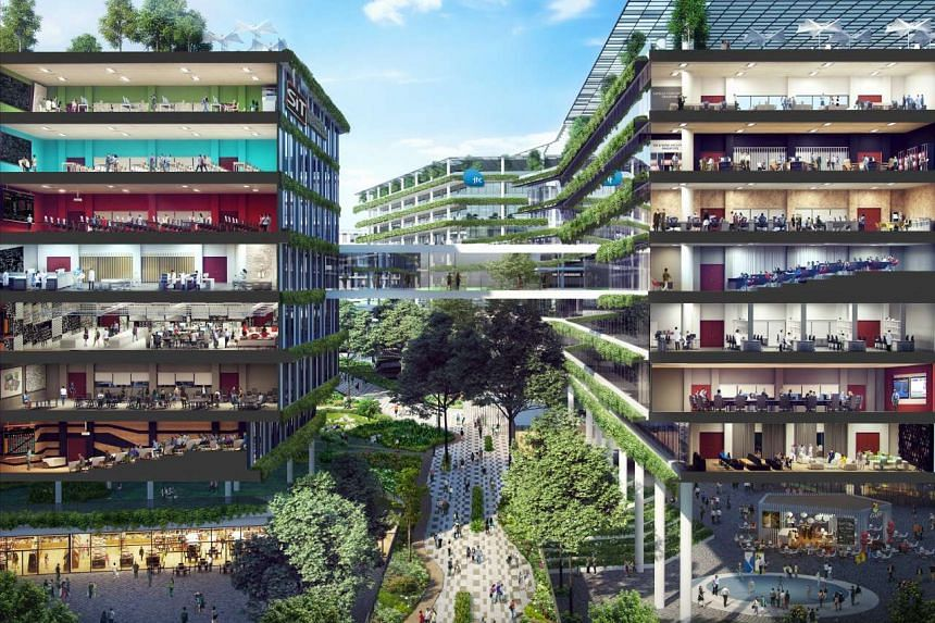 """An artist's impression of the Punggol North """"enterprise district"""", where SIT's campus and the JTC's business parks are located side by side."""