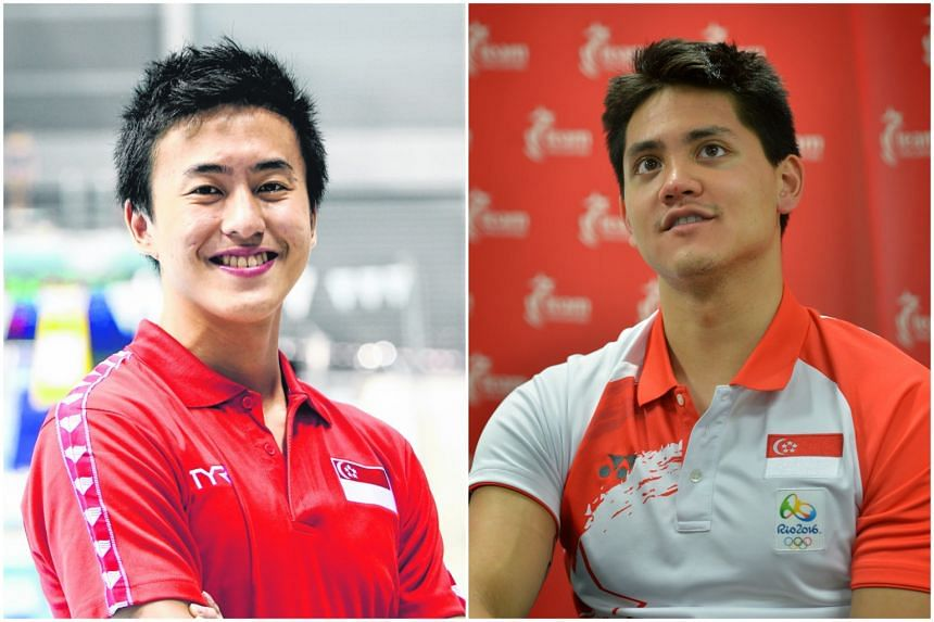 Quah Zheng Wen (left) will go head-to-head with national team-mate and Olympic champion Joseph Schooling at the March 22-25 NCAA Div 1 swimming championships in Indiana.
