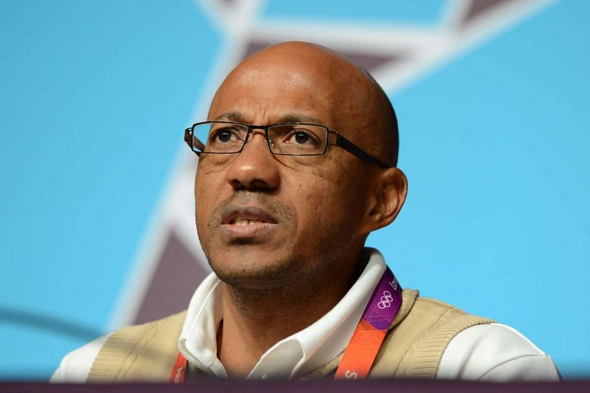 Olympic athlete representative Frank Fredericks of Namibia speaking during a press conference at the London 2012 Olympic Games in London on July 29, 2012.