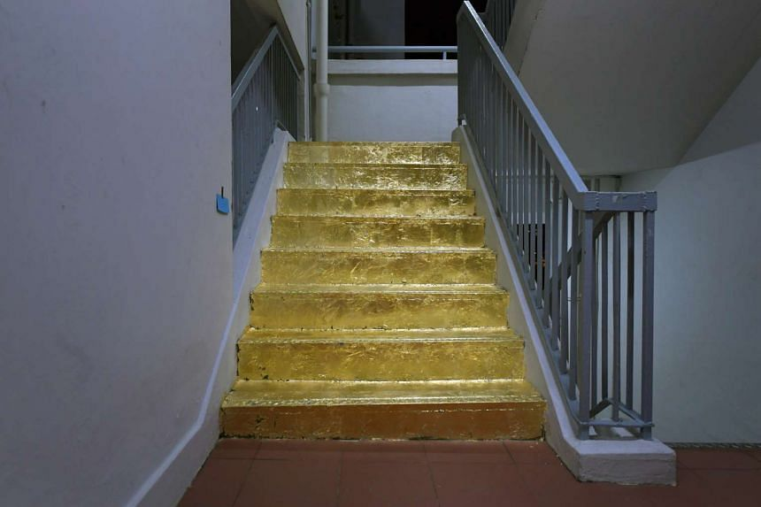"""The """"golden staircase"""" on the 20th floor of a block in Jalan Rajah."""