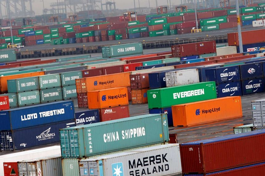 Shipping containers are seen at the Port Newark Container Terminal in Newark, New Jersey, US, on July 2, 2009.