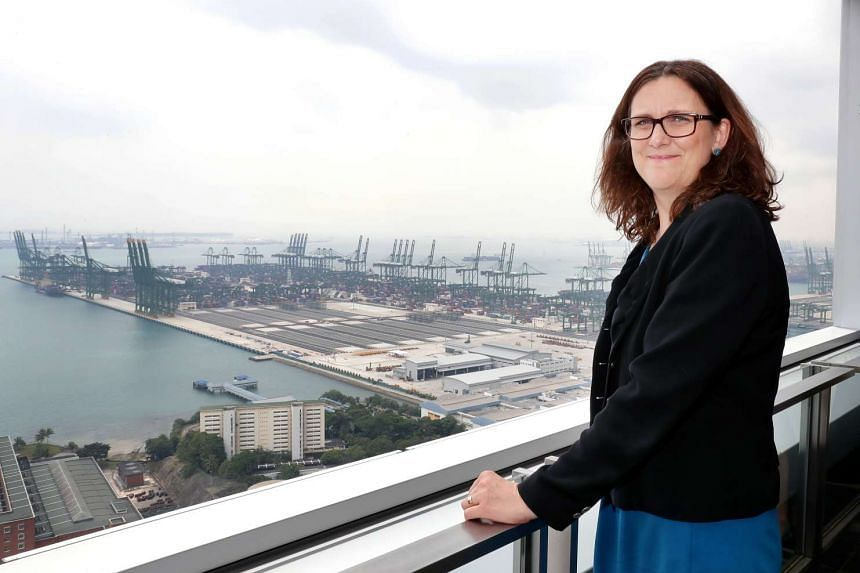 European Commissioner for Trade Cecilia Malmstrom at the PSA building in Singapore on March 8, 2017.
