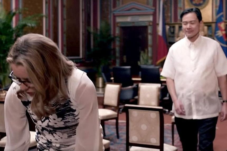 A fictional Philippine president getting a bloody nose from the US secretary of state after he tries to make a sexual advance.